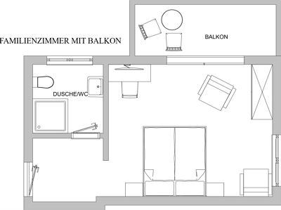 Family room, shower or bath, toilet, balcony