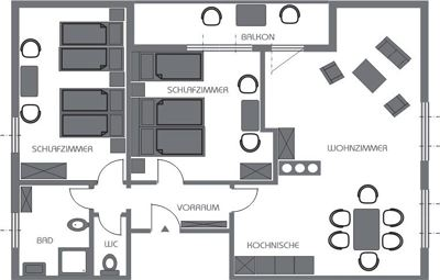 Apartment, separate toilet and shower/bathtub, balcony