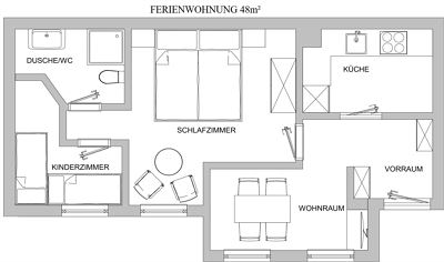 Apartment, shower or bath, toilet, ground floor