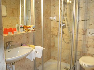 Double room, shower, toilet, facing the garden