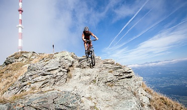 biking on the top