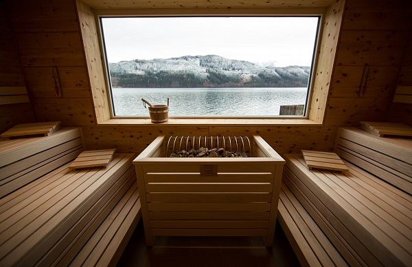 Sauna with lake view
